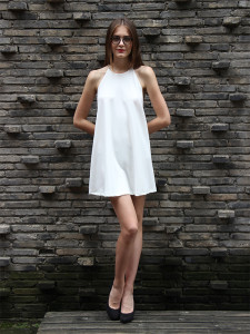 Classy little white dress with Chillax glasses