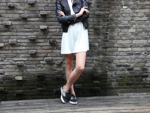 Little white dress black leather jacket Old Skool Vans