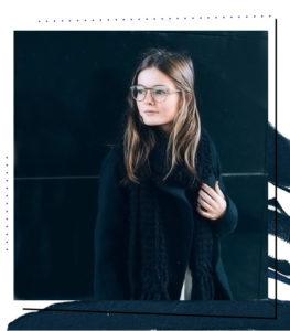 Gina weaing Kyoto eyeglasses from EyeBuyDirect