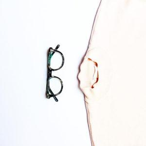 Aurora eyeglasses from RFLKT in flecked ivory.