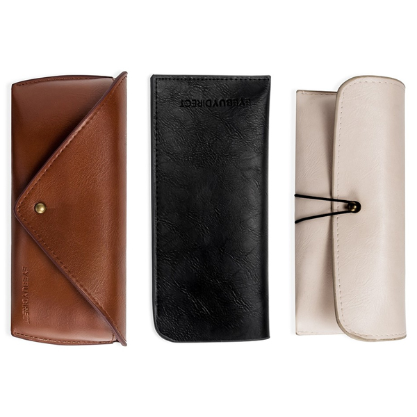 Three glasses cases at EyeBuyDirect