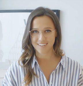 Woman wearing metal eyeglasses
