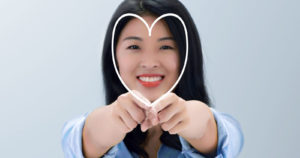 Girl with heart shape face