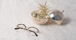 Eyeglasses with christmas ornaments