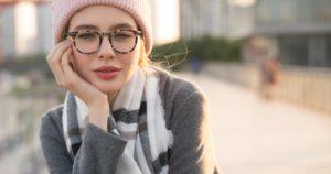 Girl wearing ladies eyeglasses