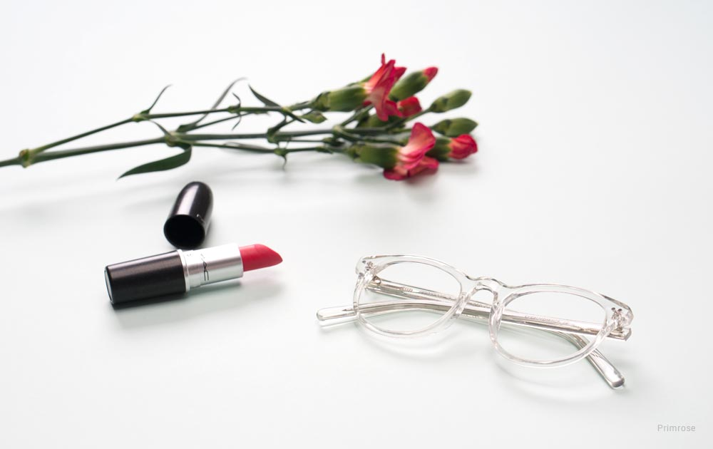 eyeglass frames for women over 50 - rose - lipstick
