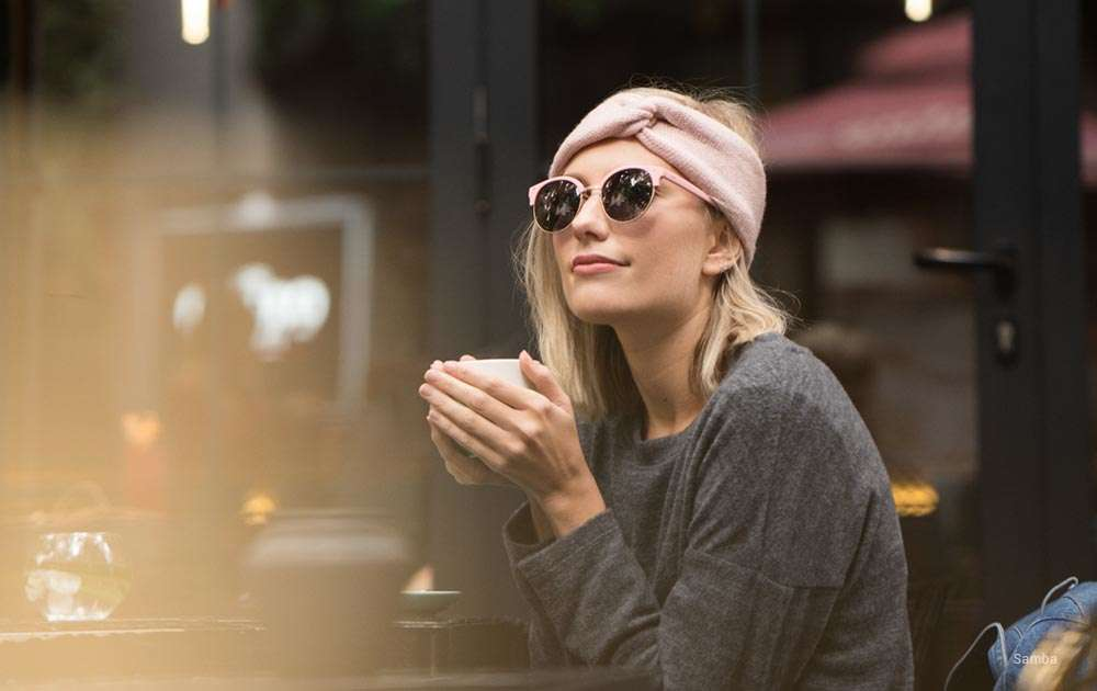 girl - coffee- pink sunglasses