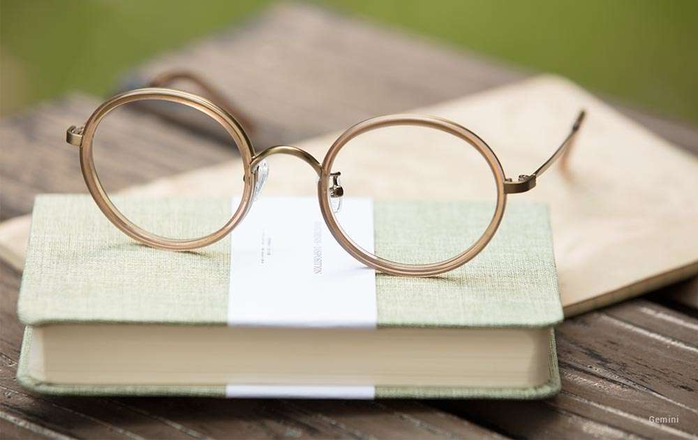 vintage round glasses - gold - book - glasses