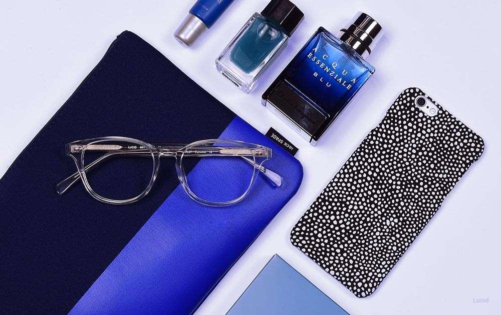 big square glasses - blue