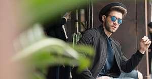 blue mirror sunglasses - guy - hat