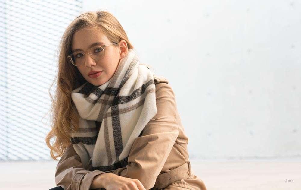 female glasses - scarf - coat - blonde