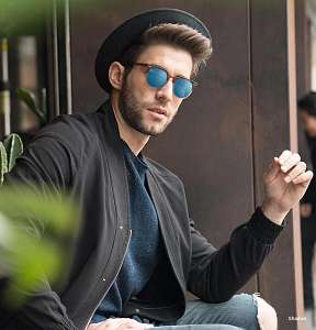 blue mirror sunglasses - guy - hat