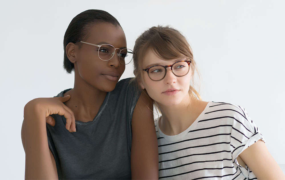 cute fashion glasses - two girls