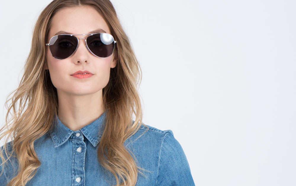 Woman wearing prescription aviator sunglasses