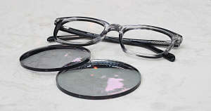 Progressive transition eyeglasses with lenses removed