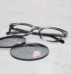 Progressive transition eyeglasses with lenses removed