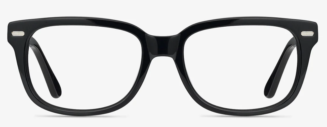 Black eyeglass frames with silver hinge studs