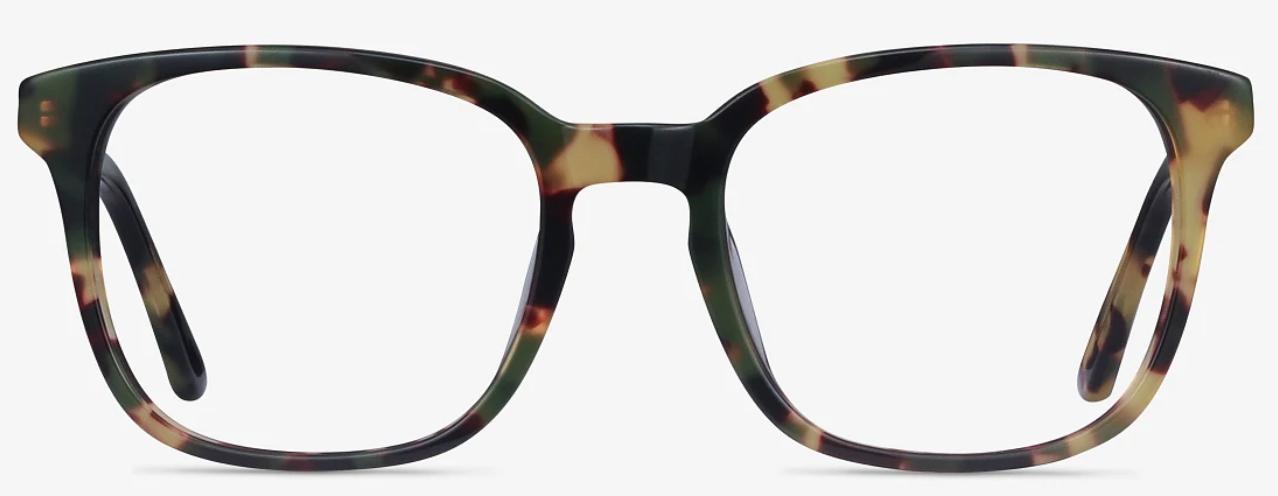 Green tortoiseshell eyeglass frames