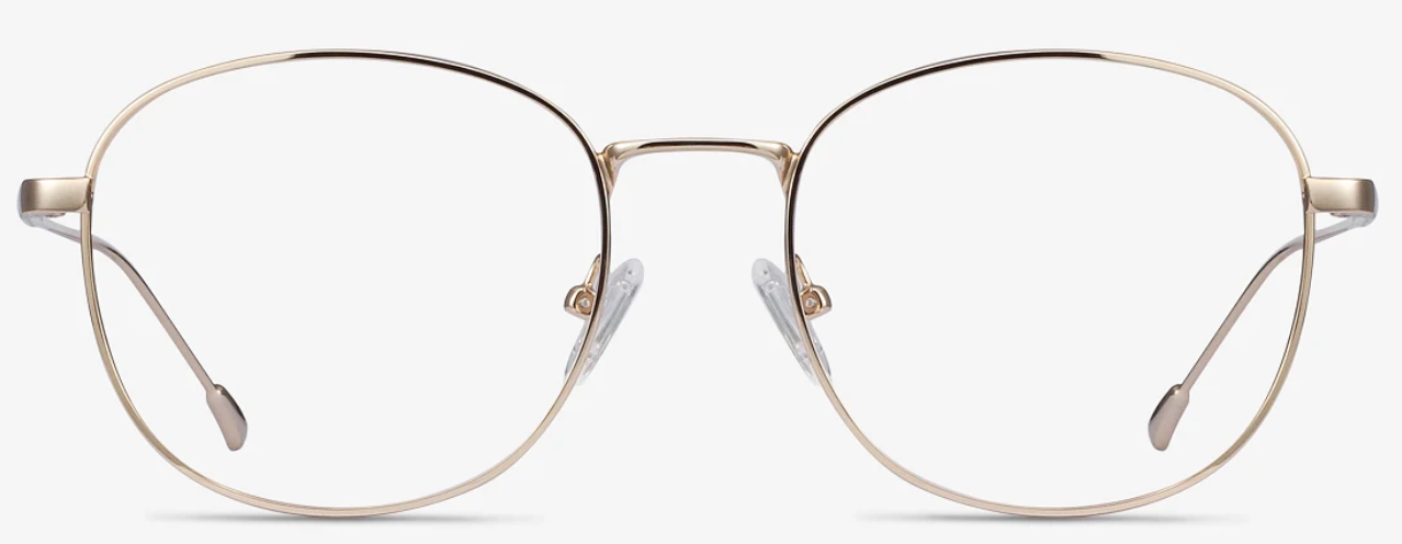 Gold metal eyeglasses with round lenses