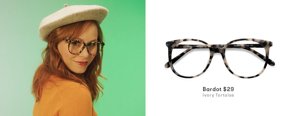 Callie wearing Bardot frames in tortoiseshell