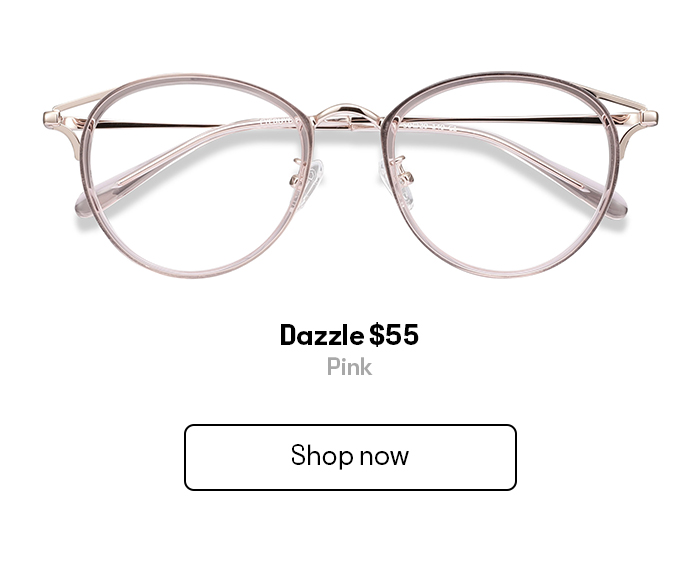 A pair of translucent round eyeglass frames