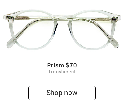 A pair of transparent eyeglasses