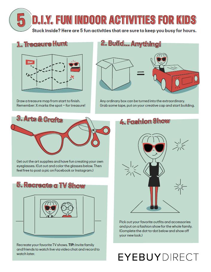 An infographic of indoor activities for kids