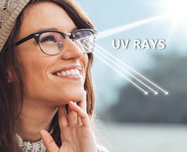 An image showing how a uv coating on lenses works